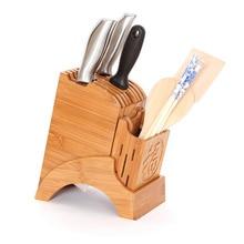 Multifonctionnel trous bambou couteau Rack créatif stockage Rack outil bois cuisine porte-couteau couteau Stand bloc fournitures 1111