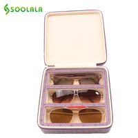 SOOLALA PU Leather Glasses Box Eyeglass Case Women Men's Sunglasses Hard Case Reading Glasses For 3 Pairs Storage Display Case