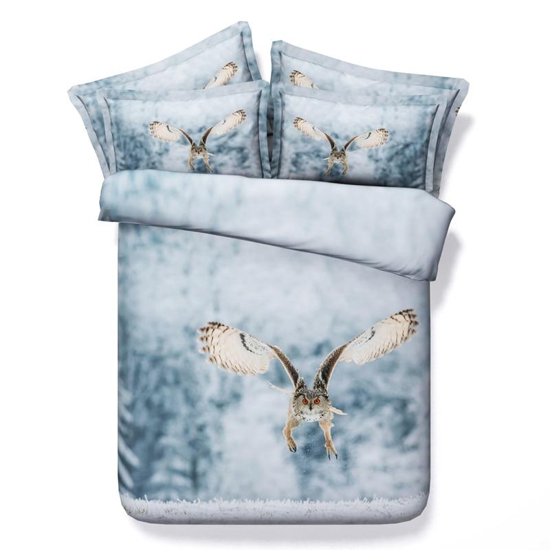 Queen Owl bedding set 3D quilt duvet cover adult for twin