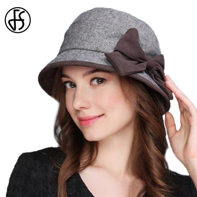 9c91d9f6fc6da FS de invierno de las mujeres sombrero Fedora de lana sombrero de ala ancha  sombreros de