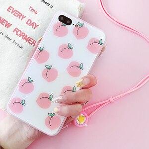 Image 3 - Roze liefde Voor iPhone 8 plus glas back case + front gehard glas voor iPhone X 6 6 splus Perzik case voor iphone 7 7 plus + strap