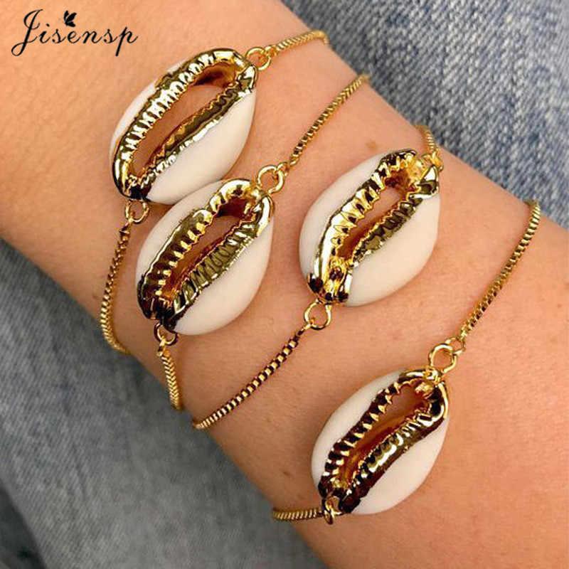 Jisensp натуральная раковина Каури браслеты для женщин нежные веревки цепи браслет бусины браслет Шарм богемные пляжные украшения joyas