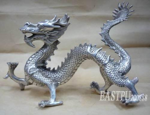 Les collectionneurs Tibet argent statue de dragon Livraison gratuite