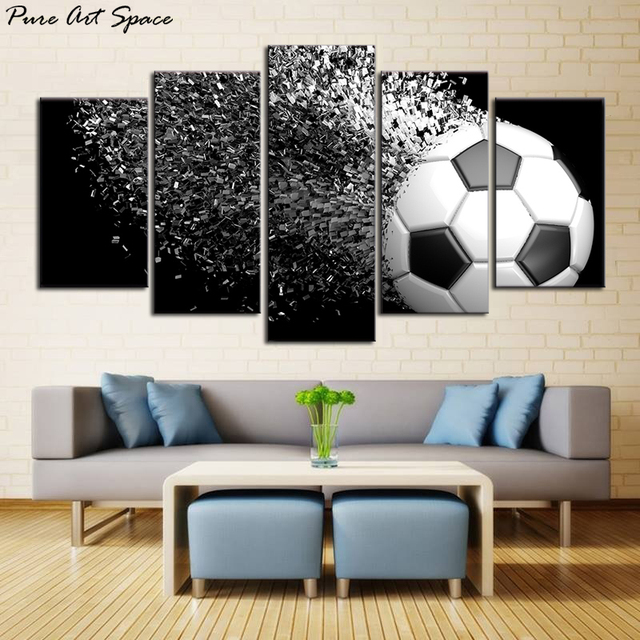 Waterproof Canvas Painting Wall Art Soccer Football Sports Themed For Boys Room Pictures Decor Gift