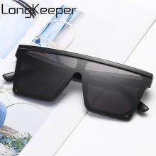 LongKeeper Square Big Frame Sunglasses Women Brand Designer Oversized Sun Glasses Men Luxury Gradient Eyeware Gafas shauna newest contrast color frame women sunglasses brand designer mixed color gradient square glasses