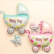 цена на Manufacturers selling baby one hundred days birthday party decorations wholesale pram modelling foil balloons
