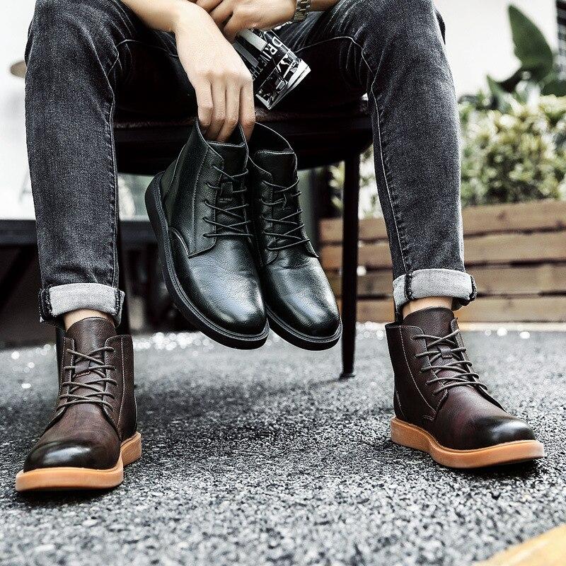 Cuir Top En Match Noir Chaussures Tous Noir Mode Les 2018 Style Vintage Lace Automne Sneakers Hommes Hiver Bottes High Pu Up Appartements khaki gY7bf6y