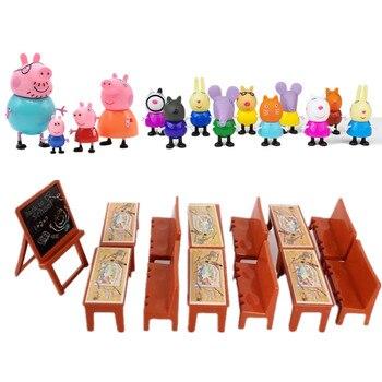 Peppa pig George Family Pack Dad Mom Piggy teacher Action Figure Toys Original Pelucia Anime Toys Set For Kids children