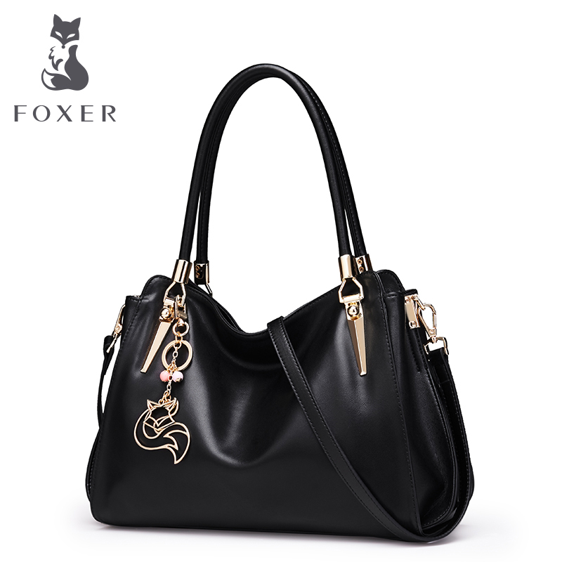 FOXER Brand Women Genuine Leather Handbag Shoulder Bag for Female Lady Luxury Crossbody Bags High Quality Bags Tote for Women fashion brand genuine cow leather women bags small pig shoulder bag luxury chains strap crossbody bags casual tote for lady