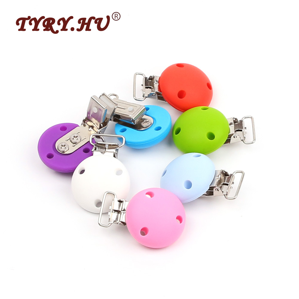 TYRY.HU 2pcs Roud Pacifier Clip Holder Food Grade Silicone+Metal Pacifier Chain Clips Baby Dummy Teether Prendedor De Chupeta