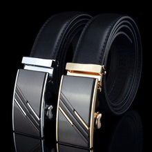 New Mens Belt Youth Fashion Designers Leather Alloy Buckle Business Casual Automatic Black
