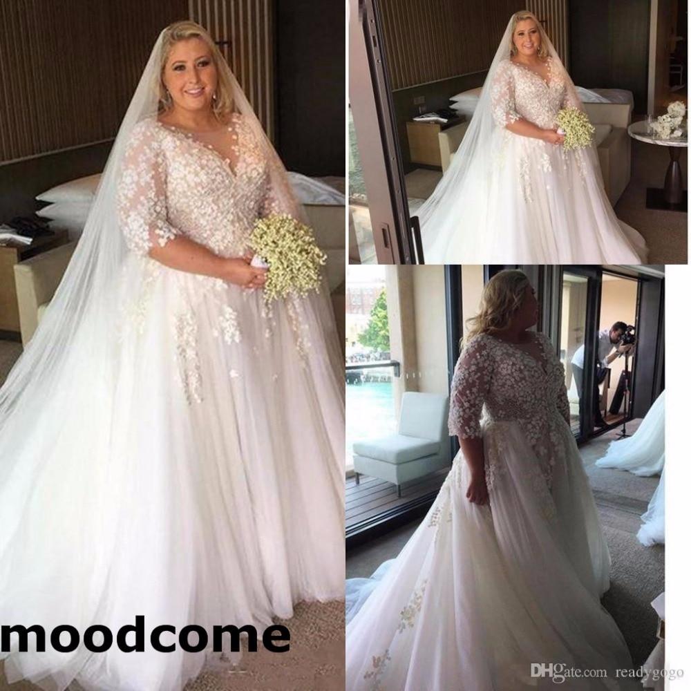 Wedding Dressing Gowns Personalised: 2018 Arabic Plus Size Wedding Dresses Sheer Neck Half