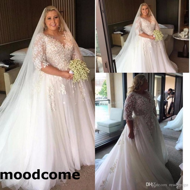 2018 Arabic Plus Size Wedding Dresses Sheer Neck Half Sleeves Custom Made Garden Country Bridal