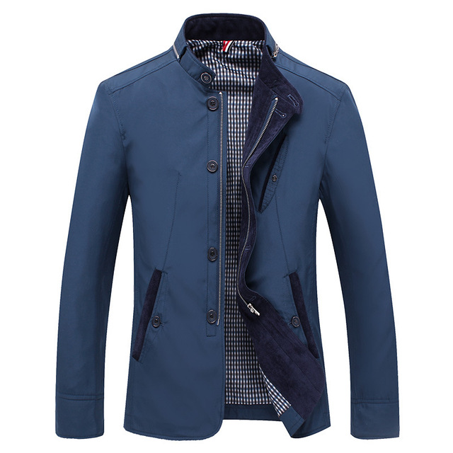 Spring Autumn Polyester Slim Fit Thin Stand Button Male Casual Jacket Men Short Windbreaker Jackets Coat Blue Khaki 4XL