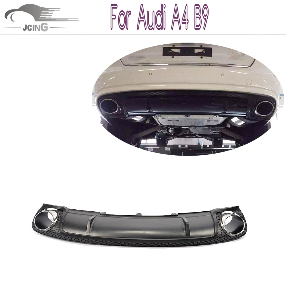 Pp stainless steel rear bumper lip diffuser with exhaust tail tip for audi a4 b9