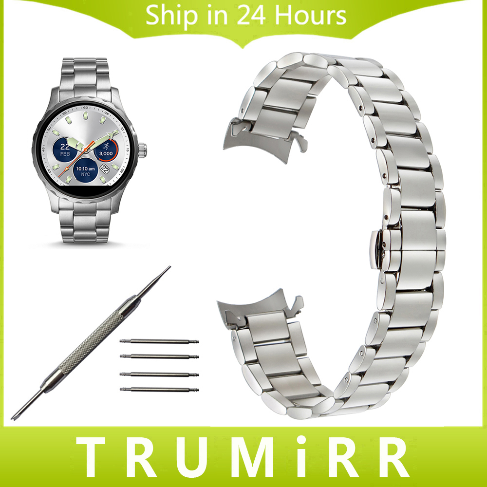 Curved End Stainless Steel Watchband for Fossil Q Gazer Founder Wander Crewmaster Grant Marshal Watch Band