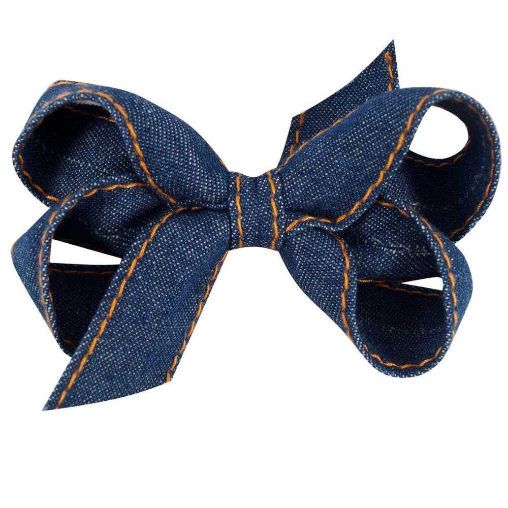 2pcs/lot 3.5 Inch Boutique Hairclips   Headwear   Cute Jeans Hair Bow With Alligator Clip For School Little Girl Hair Accessories