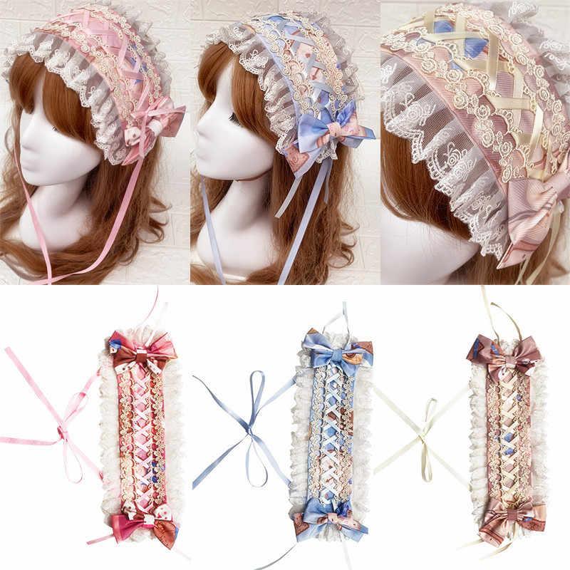 PYJTRL Dolce Lolite Fascia Lolita della Stampa Del Merletto di Bowknot Hairband Accessori Per Capelli Fasce Per Le Donne Fasce Per Capelli Per Le Ragazze