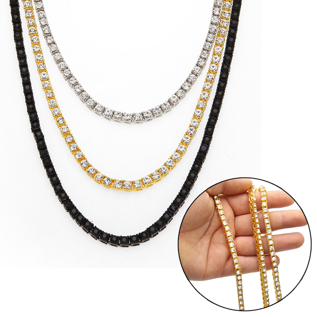 8e4fe606c04b7 US $10.58 |1 Row Necklace Full Rhinestone Single Row Necklace Gold Chain  Alloy Necklace Diamond Necklace Men's Hip Hop Tennis Chain-in Chain  Necklaces ...