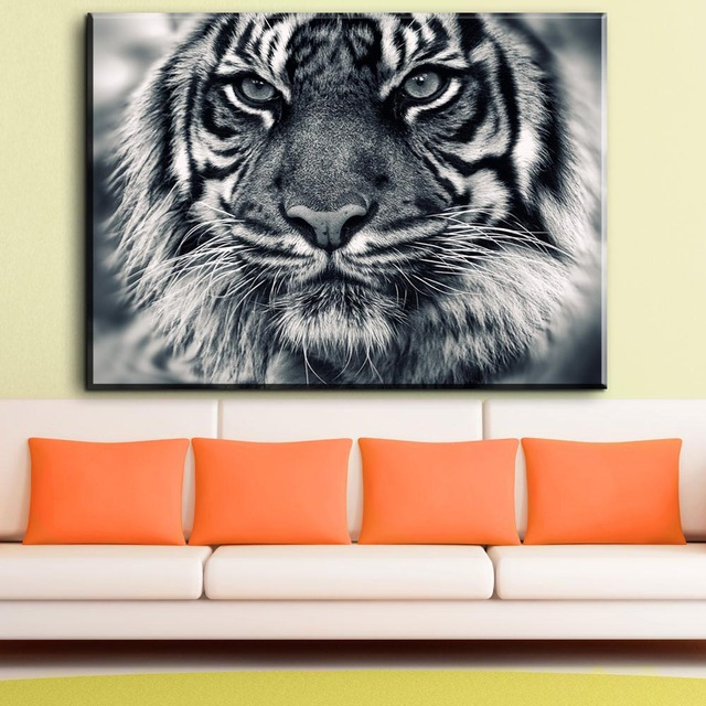 ZZ1811 Black And White Tiger Canvas Prints Art Decorative Animal Canvas  Pictures Oil Art Painting For