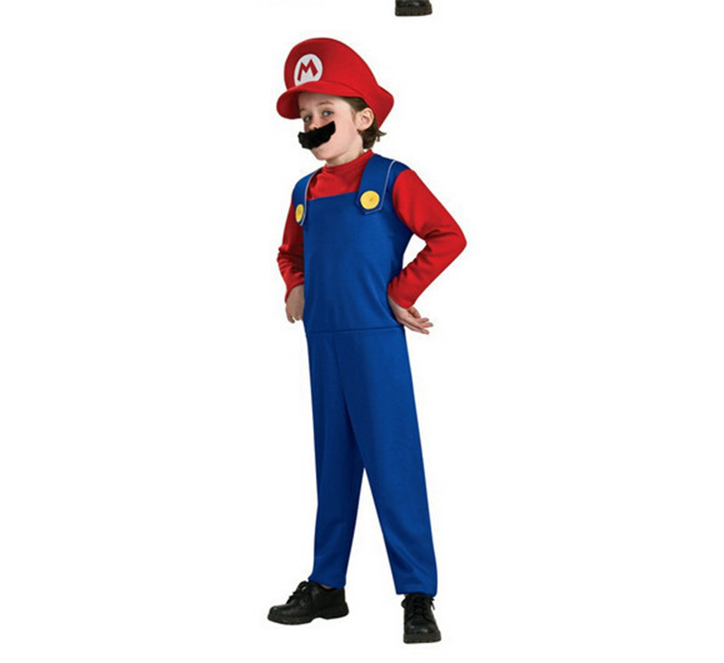 2017 Super Mario Cosplay Costumes Kids Halloween Party MARIO & LUIGI Costume For Height 100~145CM Funny Cosplay Costume