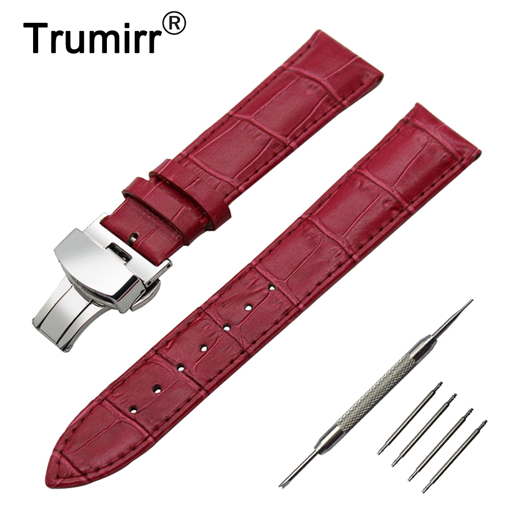 22mm 24mm Genuine Leather Watch Band for Panerai Luminor Radiomir Stainless Butterfly Buckle Strap Wrist Belt Bracelet + Tool genuine leather watch band 18mm 20mm 22mm for breitling stainless butterfly buckle strap wrist belt bracelet spring bar tool