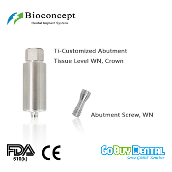 CAD/CAM Ti-Customized Pre-Milled Abutment for Tissue Level WN, crown