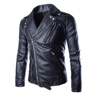 Motorcycle Leather Jackets Mens Classic Vintage Retro Motocle Jacket Turn Down Collar Slim Faux Leather Biker Jacket Size M-5XL