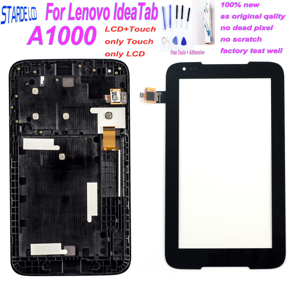 7 Touch Panel for Lenovo Tablet IdeaTab A1000 A1000L Screen Digitizer LCD Display Assembly with Frame Matrix