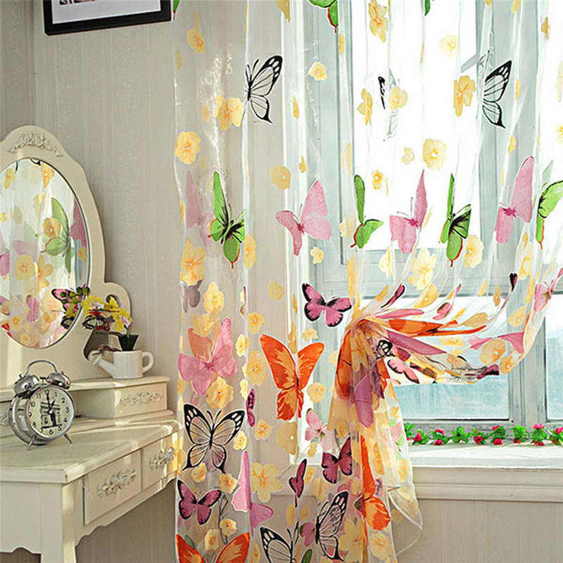 Colorful Butterfly Printed Tulle Window Screens Sheer Voile Door Curtains Drape Panel Or Scarf Assorted 1MX2M AA