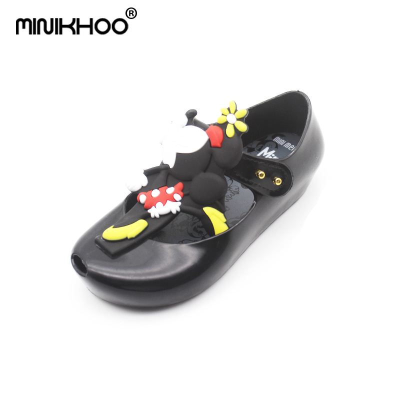 Mini Melissa Sandals 2018 New Summer Mickey & Minnie Twins Pattern Shoes Jelly Shoe Sandals Girl Non-slip Kids Sandal Toddler