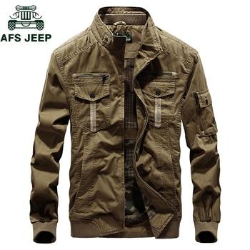 AFS JEEP Brand Military Mens Jackets Coats Stand Collar Men Autumn Winter Jacket Cotton Casual Bomber Jacket Jaqueta masculina