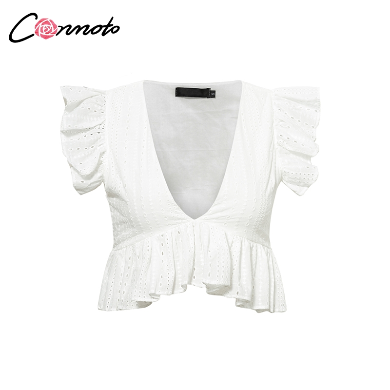 Conmoto Elegant White Embroidery Crop Top Blouse Shirts Ruffles Feminino Casual Sexy Summer Blouse Deep V Neck  Blusa Mujer