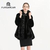 Высококачественная Новая женская зимняя норковая шуба с Капор из норки мех натуральный, пальто осенняя модная верхняя одежда из натурально