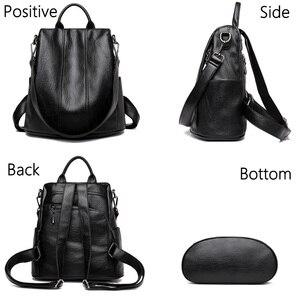 Image 3 - Women Waterproof anti theft Leather Backpacks Bags For Girls Female Shoulder Bag Multifunction Traveling Backpack Mochilas