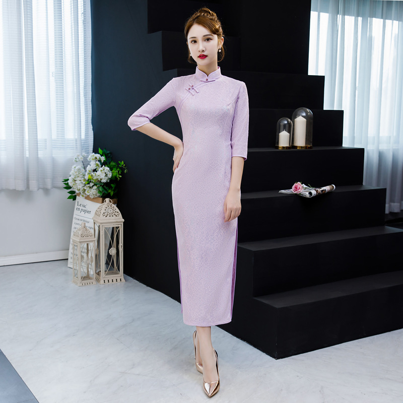 Lumière Pourpre Robes Mode Qipao Cheongsam Vintage De Bouton Rose rouge 2019 D'été Mince Nouvelle lavande Chinois Sexy Femmes Partie Robe Dentelle yYb7gf6