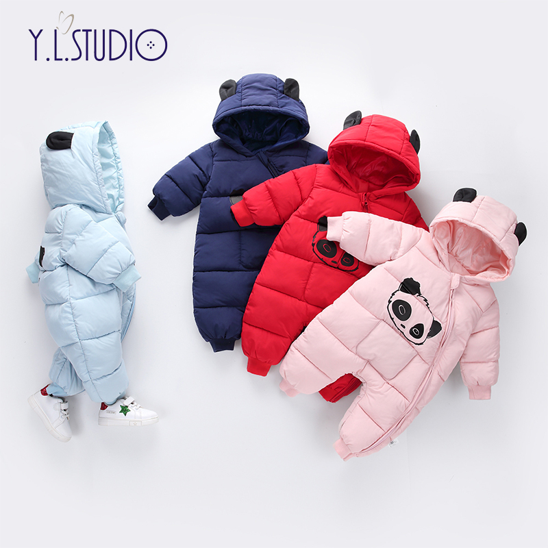 Baby Boy Girl Overalls 2018 New born Winter Hooded Rompers Thick Cotton Outfit Newborn Jumpsuit Children Costume Toddler Romper