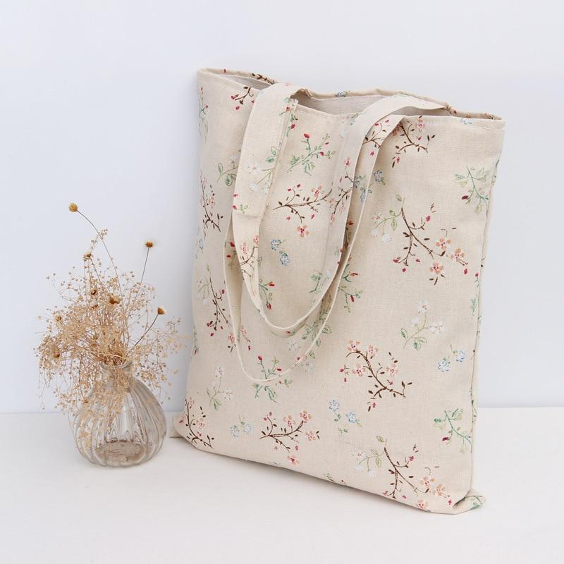 YILE Handmade Cotton Linen Eco Reusable Shopping Shoulder Bag Tote Rural Flower Spray L0 ...