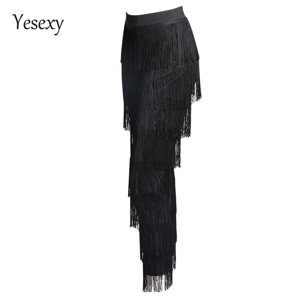 Yesexy 2020 גדילים סקסי אלגנטי גבוה מותן גרביונים Zip ציצית אופנה סקסי צדדי שחור לבן מצויץ מכנסיים רוכסן VR4799