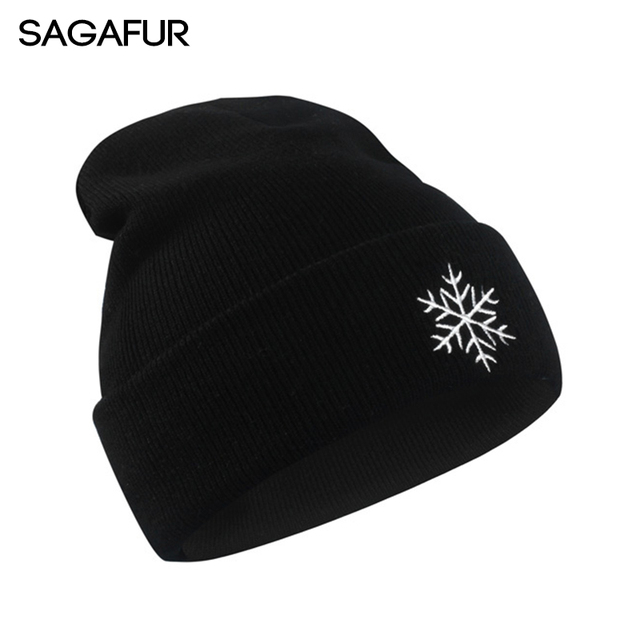Autumn Winter Knitted Hats For Girls Creative Beanies Men Weather Snow Sun  Sign Embroidery Black Caps Women s Skullies Bonnet 7d6960dbad4