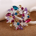 Sell Women Brooches Pins with Colorful Crystals Alloy Gold Rhodium Platinng Haigh Quality Party Wedding Jewelry Valentine gifts