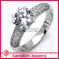 Carraton RSQD1075 Heart & Arrow CZ Anillo Solitario de Diamante de Plata de Alta Calidad Al Por Mayor, Custom 925 Solitario Anillo De Bodas de Plata