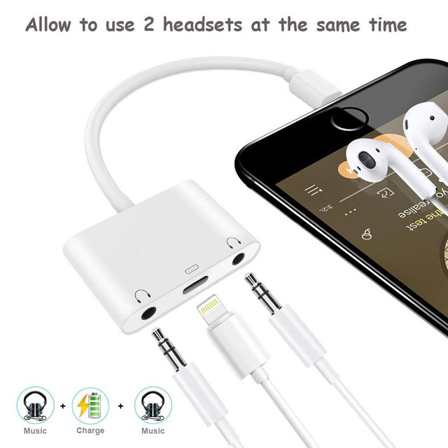 finest selection 0d8d0 99385 US $27.99 |Headphone Adapter Dual forLightning Audio Charge Splitter iPhone  7 AUX Cable Charger Connector Compatible iPhone X / 8/8 Plus/6 on ...