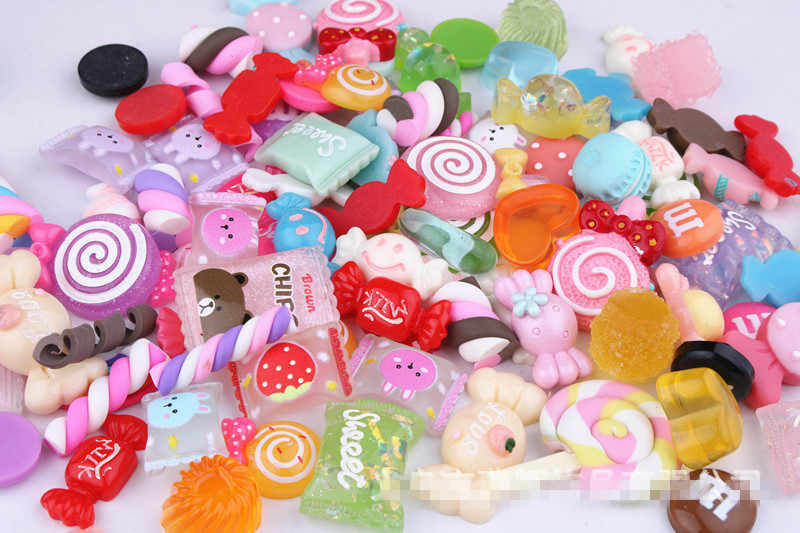 10Pcs Slime Charm Candy Mix DIY Phone Case Decoration for Slime Clay Crystal Glue Miniature Resin Cake Candy