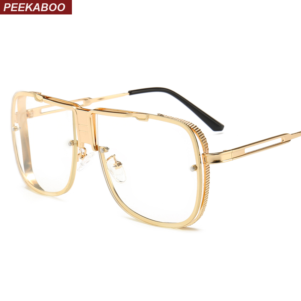 f342ff0e1e Peekaboo womens oversize glasses frame for man clear lens 2019 big gold  matel square eyeglasses for men frames