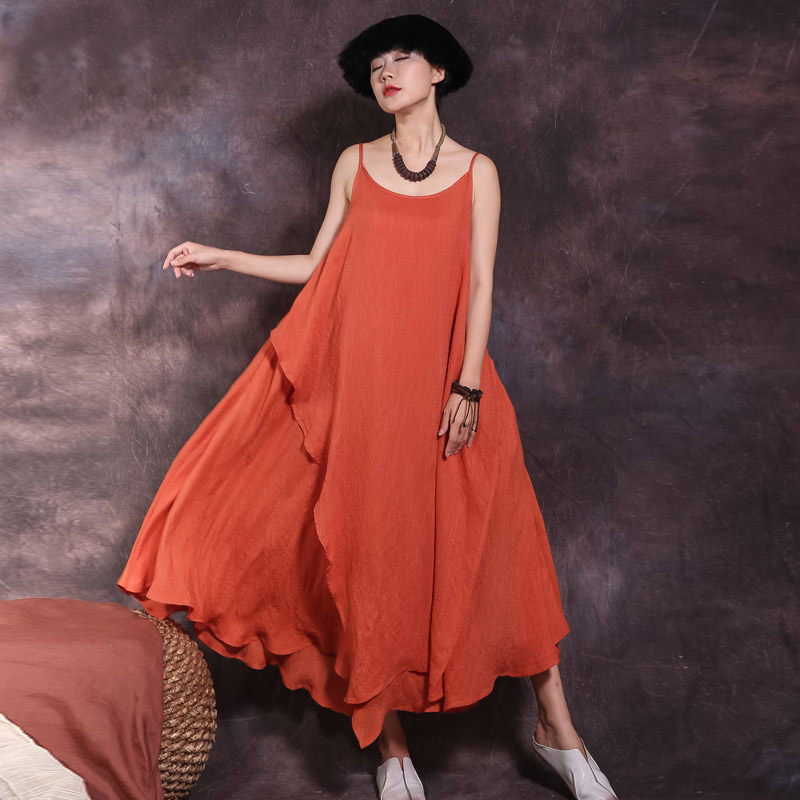 Johnature New Summer Sleeveless Spaghetti Strap Long Dresses Solid Color 2019 Women Irregular Patchwork 3 Colors