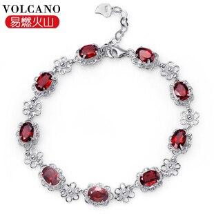 Bracelet grenat naturel 925 en argent Sterling femme Fine élégante gemme rouge bijoux fille pierre de naissance cadeau saint-valentin SB0003G