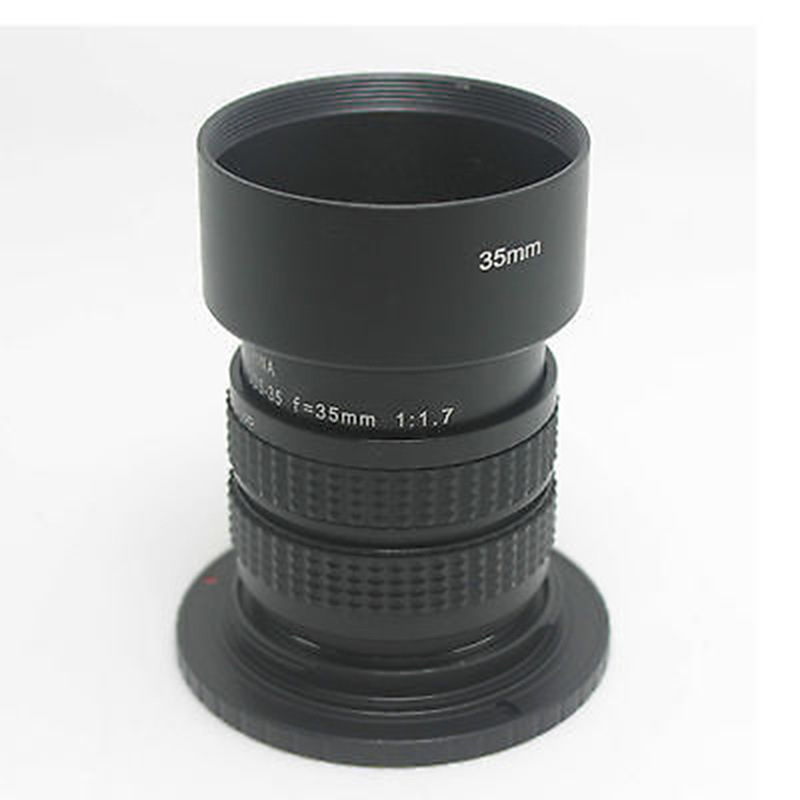 Fujian 35mm f/1.7 CCTV cine lens for M4/3 / MFT Mount Camera+Adapter ring c-m4/3 hood for Olympus Panasonic Micro 4/3 cameras image
