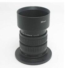 Phúc Kiến 35 Mm F/1.7 Camera Quan Sát Cine Lens Cho M4/3/MFT Gắn Máy Ảnh + Adapter Nhẫn c m4/3 Hood Cho Olympus Panasonic Micro 4/3 Camera