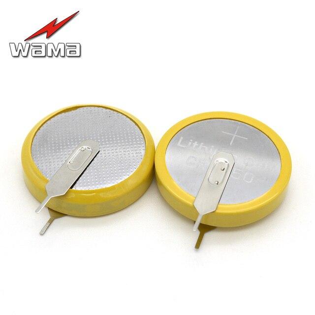 662cfea07 50 unids/lote Wama CR2450 botón pies de soldadura baterías 3 V 180 grados 2